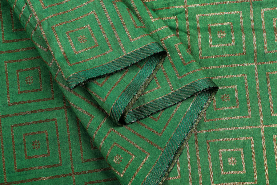 Special Banarasi Silk Cotton Checks Zari Booti Fabric