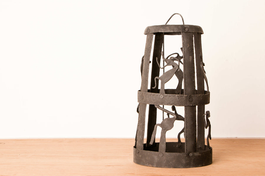 Bastar Tribal Wrought Iron Lamp
