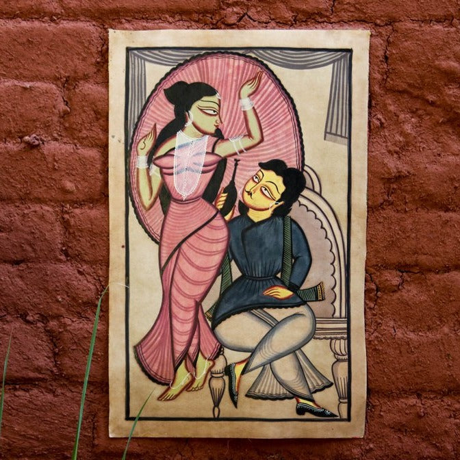 Traditional Kalighat Painting by Laltu Chitrakar (22 x 14 in)