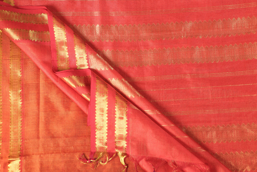 Traditional Kanchipuram Zari Buti Handloom Silk Cotton Vaira Oosi Design Saree with Blouse