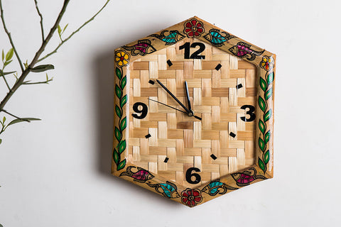 Madhubani Handpainted Bamboo Wood Clock - (11x10 inches)