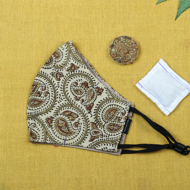 Herb Pocket Kalamkari Block Print Cotton 3 Layer Snug Fit Face Cover