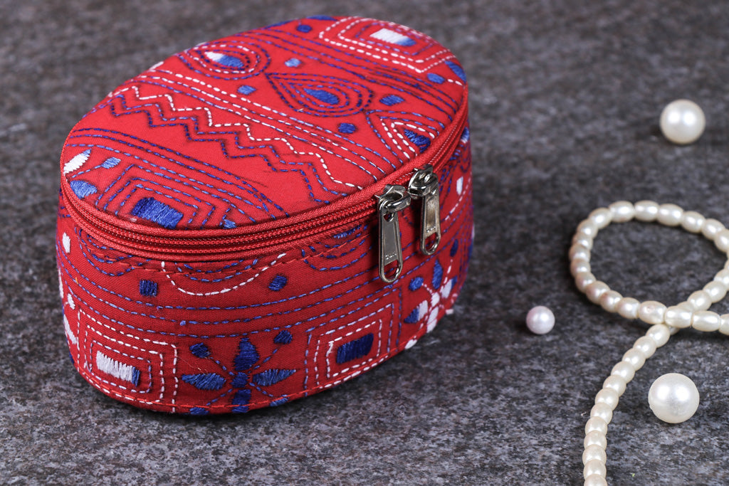 Bengal Kantha Work Handcrafted Oval Jewelry Box with Mirror
