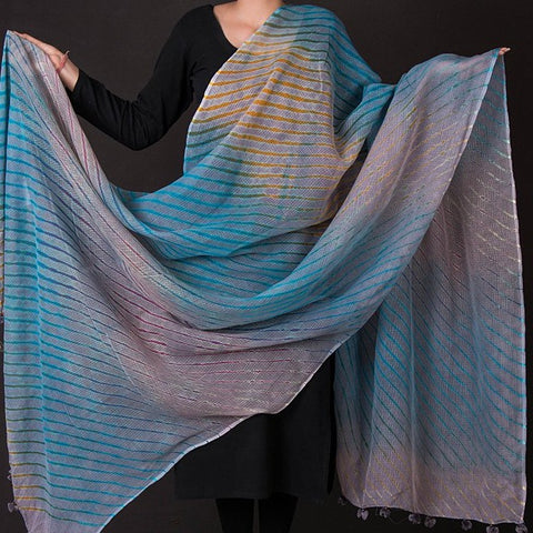 Traditional Leheriya Tie-Dye Kota Doria Cotton Dupatta