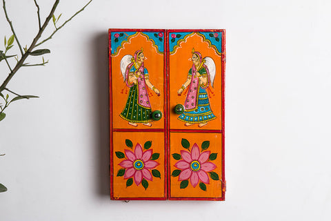 Kavad Katha Wooden Handpainted Wall Clock - (12x8 inches)