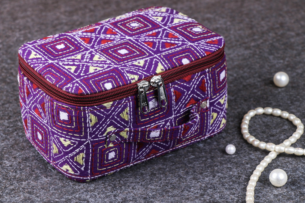 Bengal Kantha Work Handcrafted Jewelry Box with Mirror