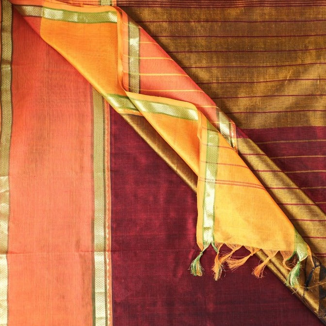 Traditional Kanchipuram Zari Border Handloom Silk Cotton Saree with Blouse