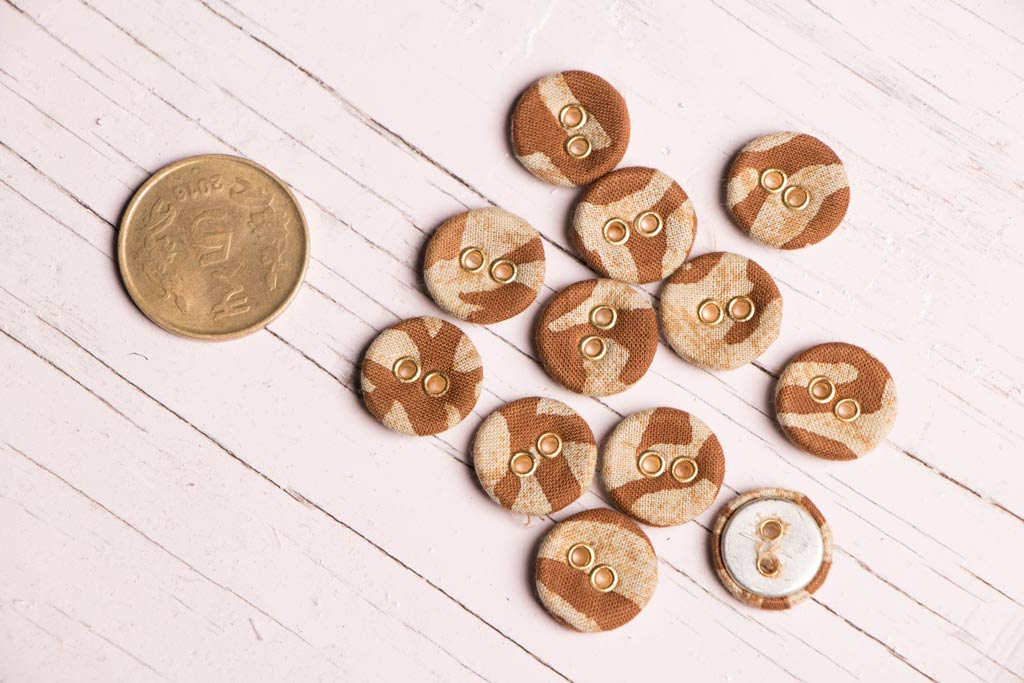 Cotton Printed Fabric Buttons Mini (Set Of 12 )