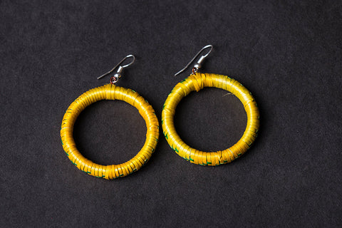 Hand Braided Natural Sikki Grass Earrings