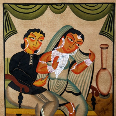Traditional Kalighat Painting by Laltu Chitrakar (14 x 11 in)