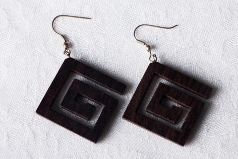 Handcarved Tarkashi Abnoos Wooden Earrings