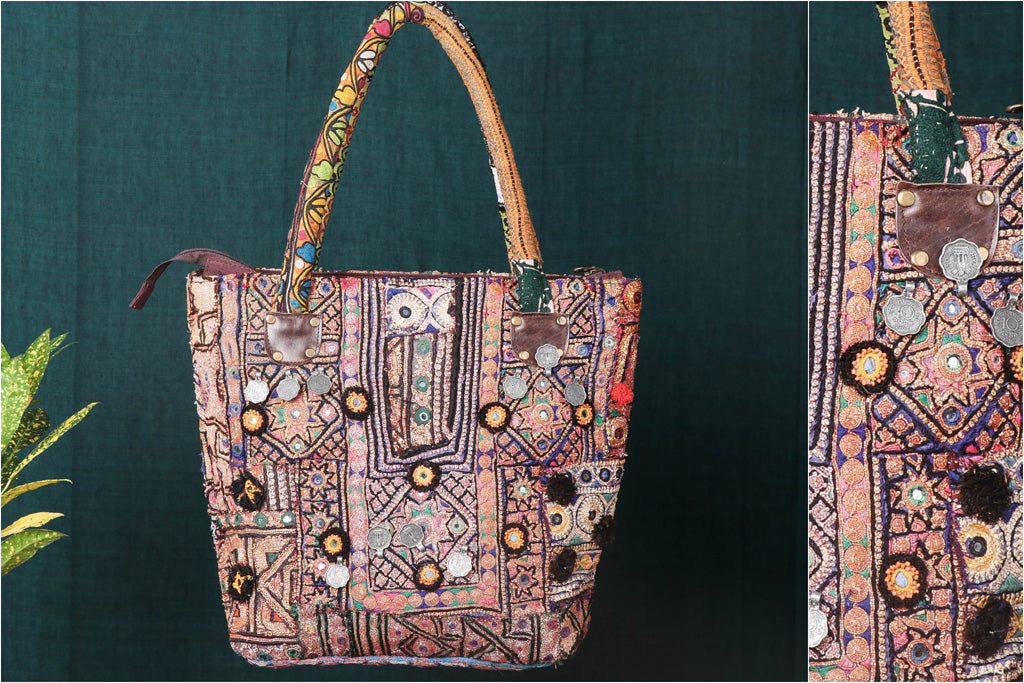 Banjara Vintage Embroidery Mirror & Coin Work Shoulder Bag