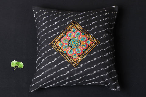 Noori Ikat Kutch Embroidery Cotton Cushion Cover (16 x 16 inches)