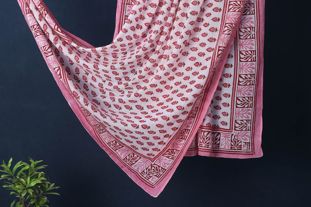 Sanganeri Block Printed Mul Cotton Dupatta/Wrap Sarong Pareo/Beach Wear