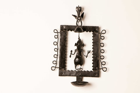 Bastar Tribal Wrought Iron Bell Diya Stand