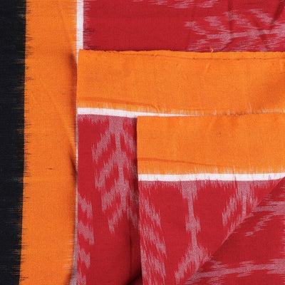 Traditional Pochampally Woven Double Ikat Handloom Cotton Fabric with Border