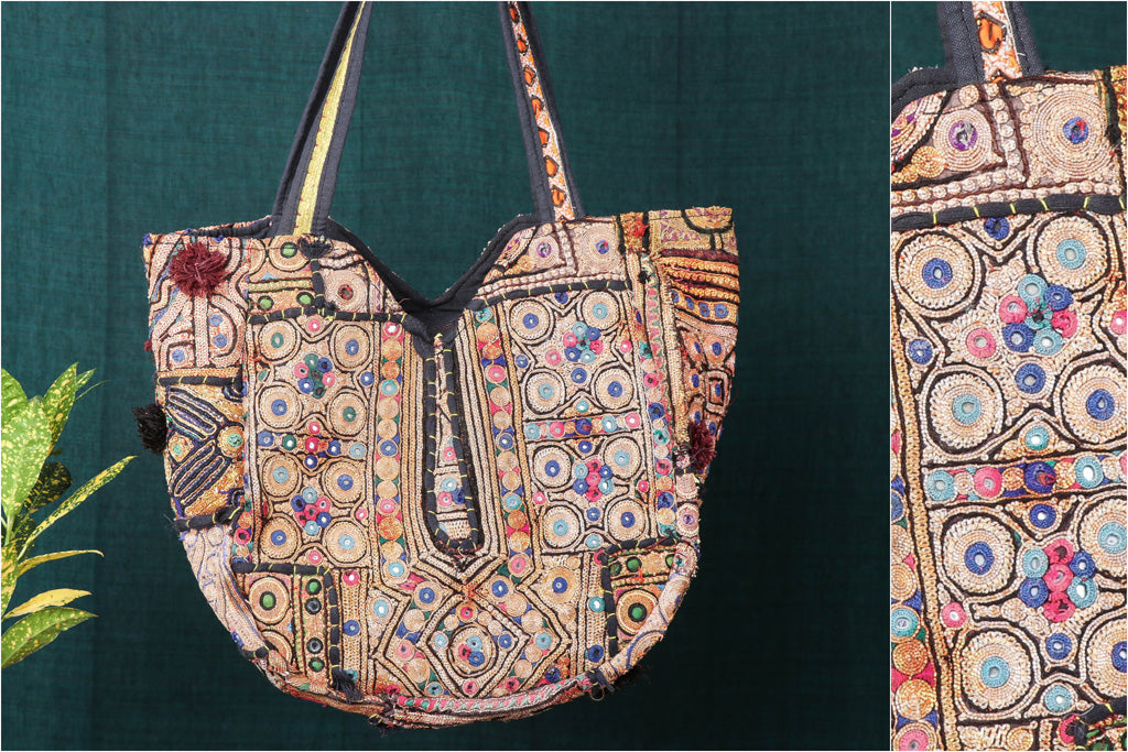 Banjara Vintage Embroidery Mirror Work Shoulder Bag