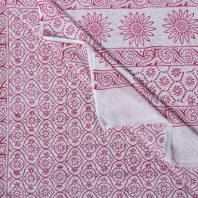 Mul Cotton Floral Hand Block Printed Saree