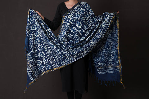 Bagru Dabu Block Print South Cotton Dupatta with Zari