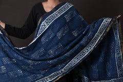 Bagru Dabu Printed South Cotton Dupatta with Zari
