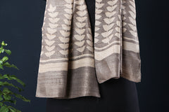 Pure Tussar Silk Natural Dyed Bindaas Art Block Print Stole