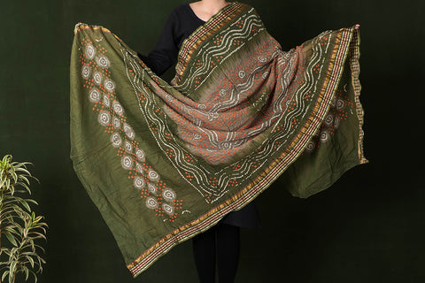 Kutchhi Bandhani Tie-Dye Mul Cotton Dupatta with Border