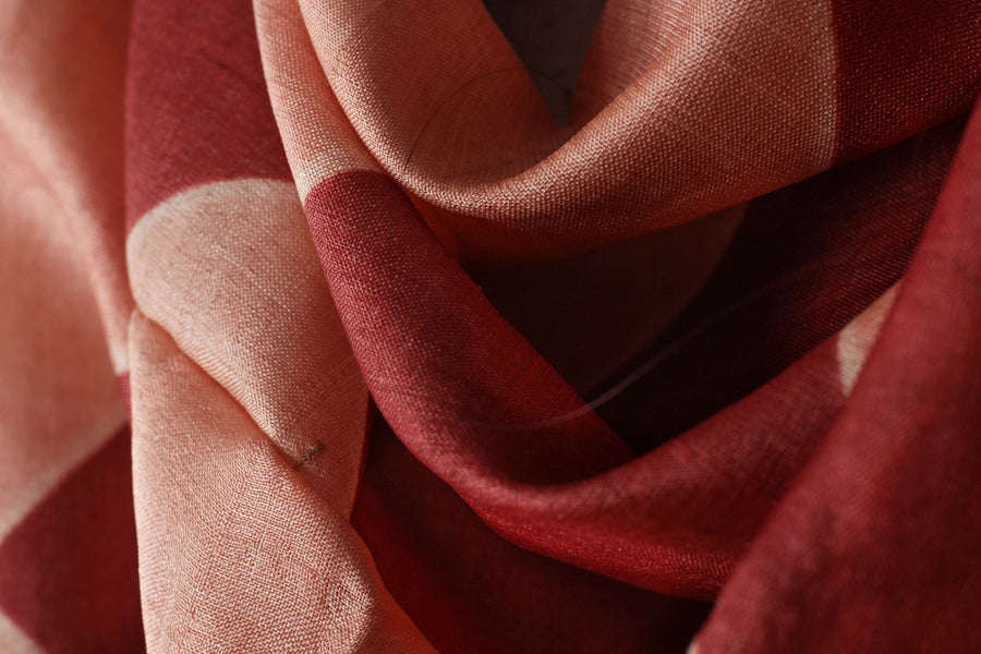 Katano Shibori Indian Madder & Kasmi Coloured Tussar Stole