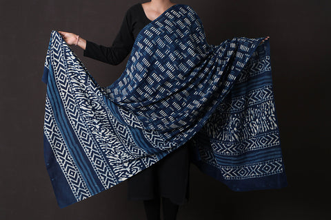 Bagru Dabu Printed South Cotton Mul Dupatta