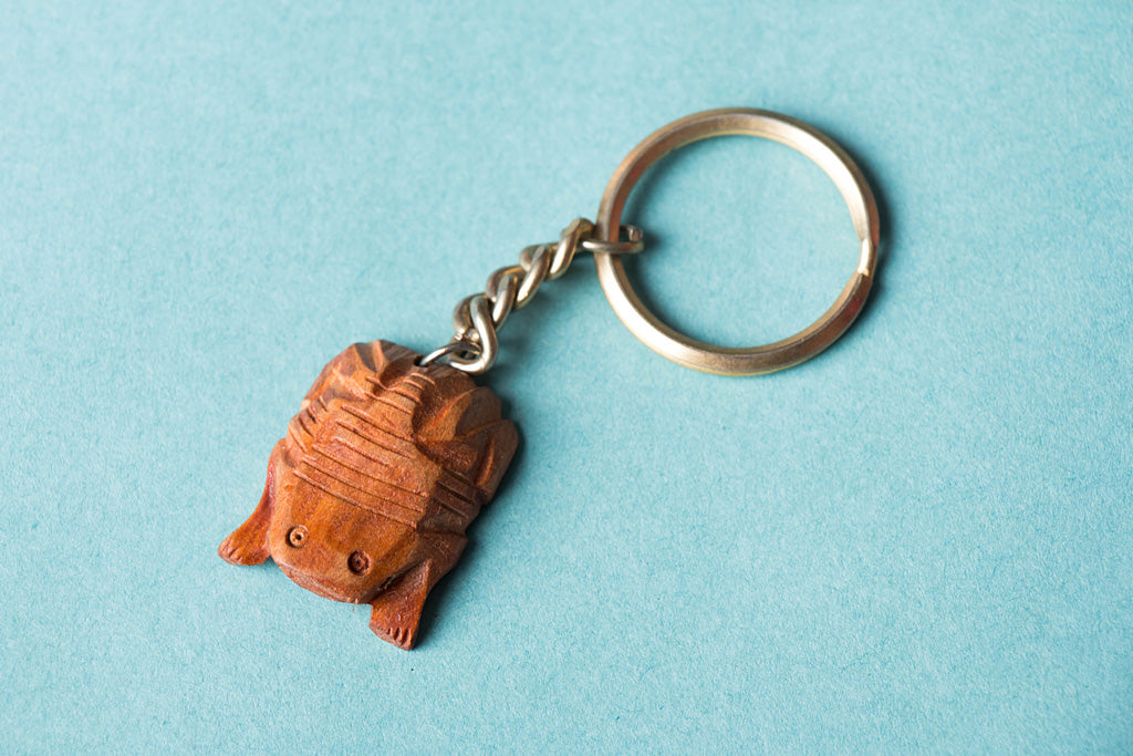 Handcarved Kadam Wood Keychain