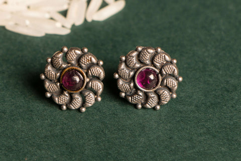 Antique Padma Sterling Silver Stud Earring