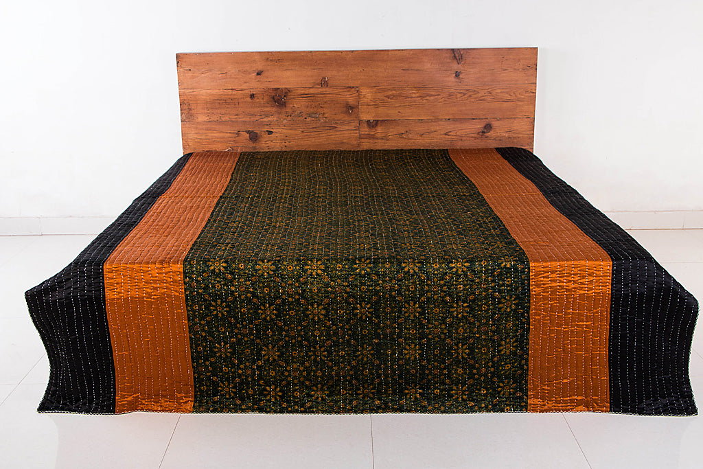 Reversible Kutch Tagai Embroidered Mashru Silk Double Bed Cover with Patchwork (106x84 inches)