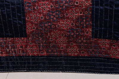 Reversible Kutch Tagai Embroidered Mashru Silk Double Bed Cover with Patchwork (100x84 inches)
