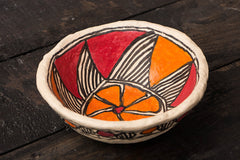 Handpainted Madhubani Paper Mache Bowl - Medium