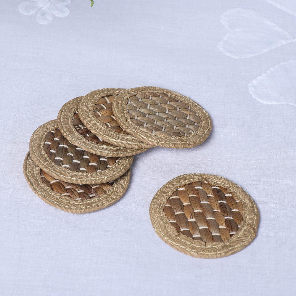 Handmade Organic Water Hyacinth Coasters from Assam (Set of 6)