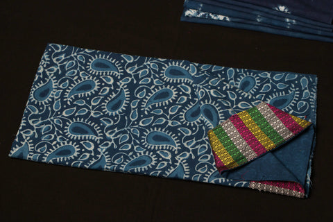 Indigo Cotton Blouse Material with Khun Border