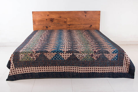 Reversible Kutch Tagai Embroidered Ajrakh Cotton Double Bed Cover with Patchwork (108x90 inches)