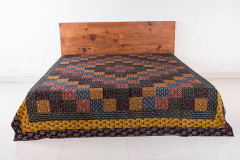Reversible Kutch Tagai Embroidered Ajrakh Cotton Double Bed Cover with Patchwork (106x88 inches)