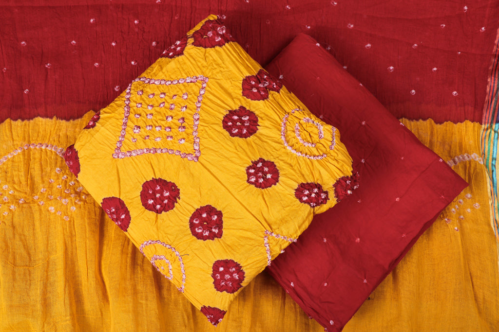 Kutchhi Bandhani Cotton 3pc Suit Material Set