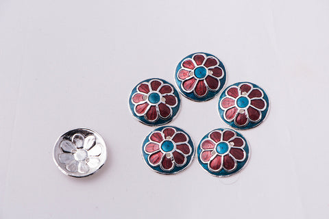 Handcrafted Paka Meenakari Buttons (set of 6 - big)