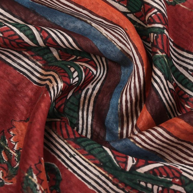 Bagru Block Print Handloom Chanderi Silk Saree with Zari Border
