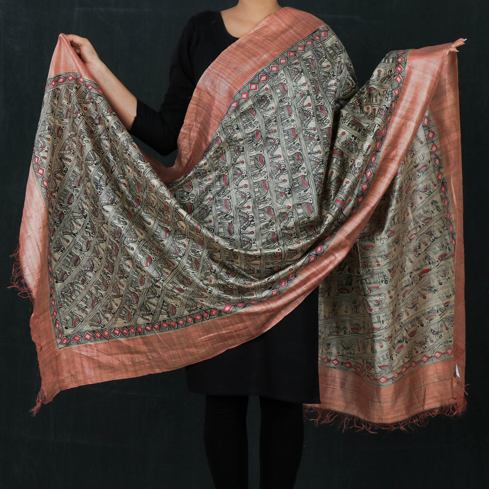Traditional Madhubani Handpainted Pure Tussar Silk Handloom Dupatta