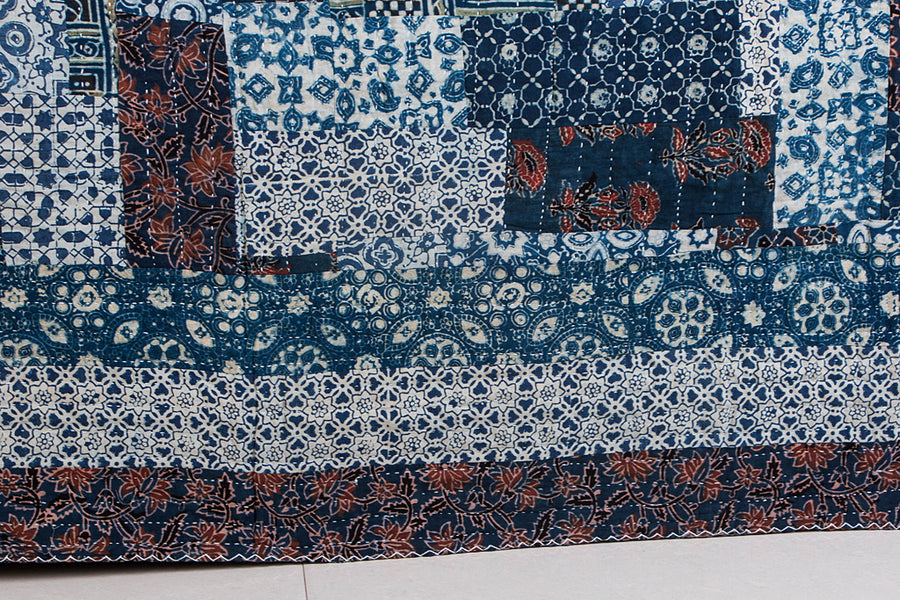 Reversible Kutch Tagai Embroidered Ajrakh Cotton Double Bed Cover with Patchwork (108x88 inches)