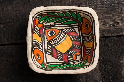 Handpainted Madhubani Paper Mache Bowl - Small