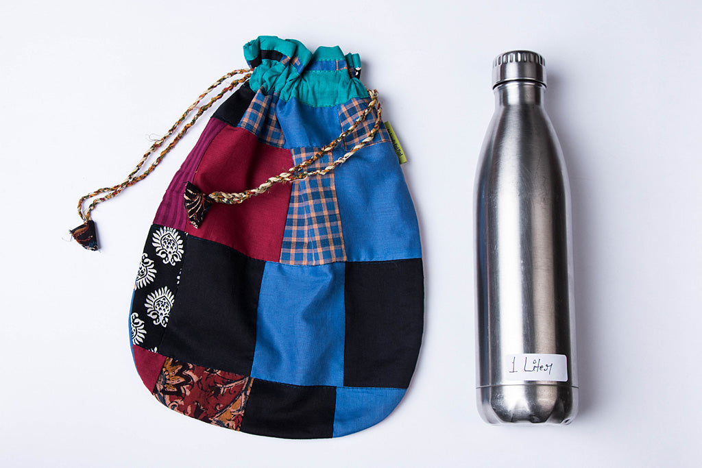 Jugaad Patchwork Cotton Bottle Bag