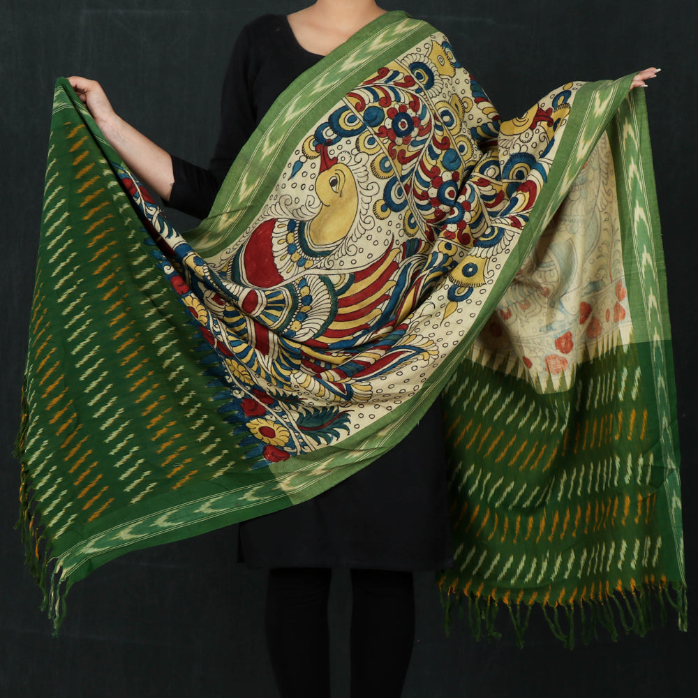 Traditional Kalamkari Handpainted Ikat Handloom Cotton Dupatta