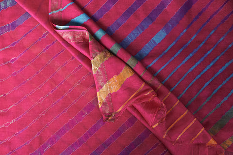 Original Leheria Tie Dye Printed Maheshwari Silk Handloom Zari Border Saree with Blouse