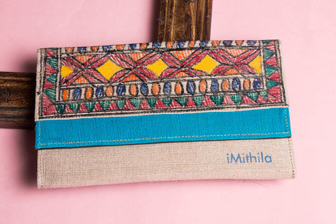 Madhubani Handpainted Jute Cotton Clutch