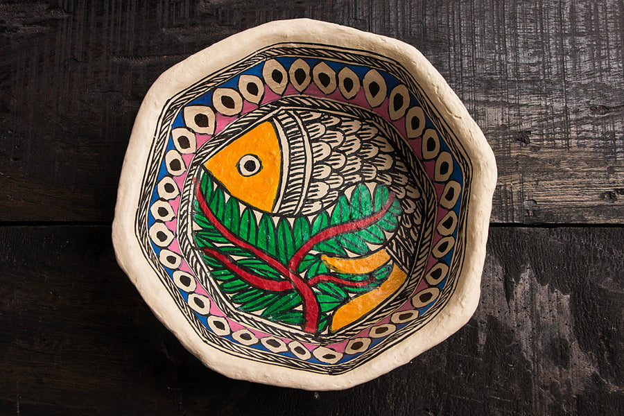 Handpainted Madhubani Paper Mache Bowl - Big