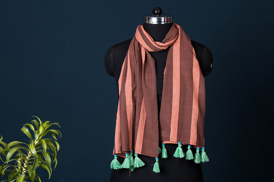 Baragaon Weaves Handloom Soft Cotton Stole with Tassels