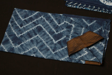 Indigo Shibori Blouse Material with Khun Border